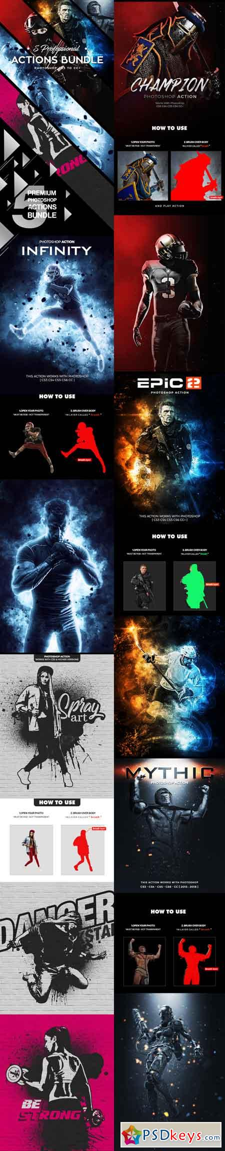 Five Photoshop Actions Bundle - 2018 v2 22147517