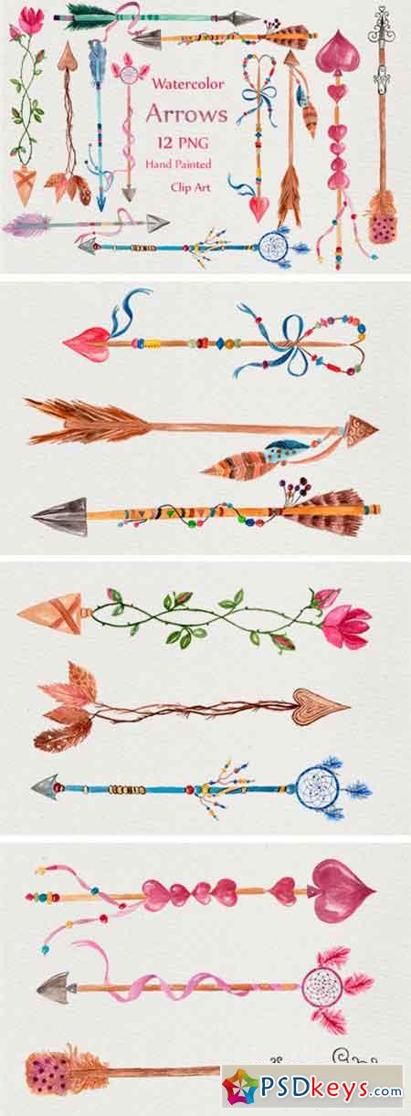 Watercolor Arrows Clipart