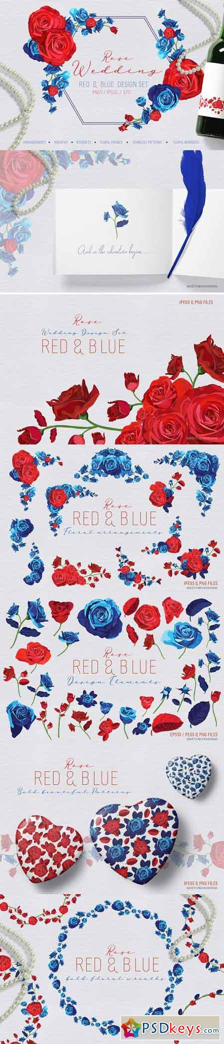 Rose Wedding Red and Blue Design Set 2897785