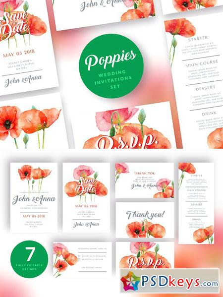 Red Poppies Wedding Invitation Set 2839541