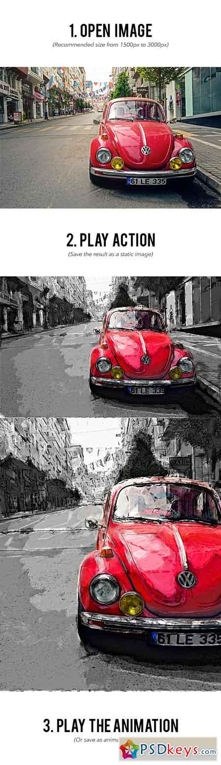 Gif Animated Drawing Art Photoshop Action 22484677