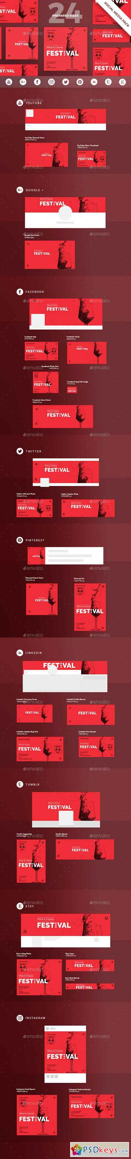 Wine Festival Social Media Pack Template 20903311