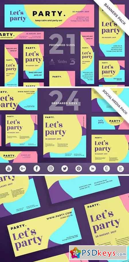 Color Party Flyer,Poster, Social Media, Banner Pack Template