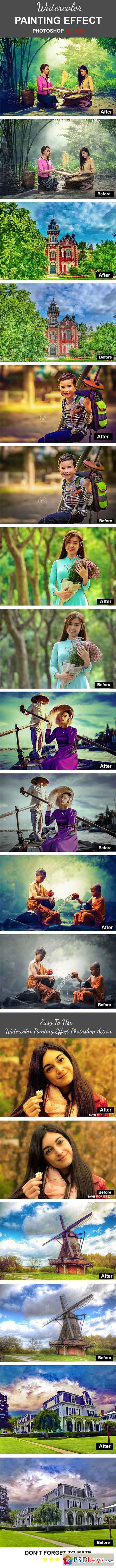 Watercolor Painting Effect Photoshop Action 22485805