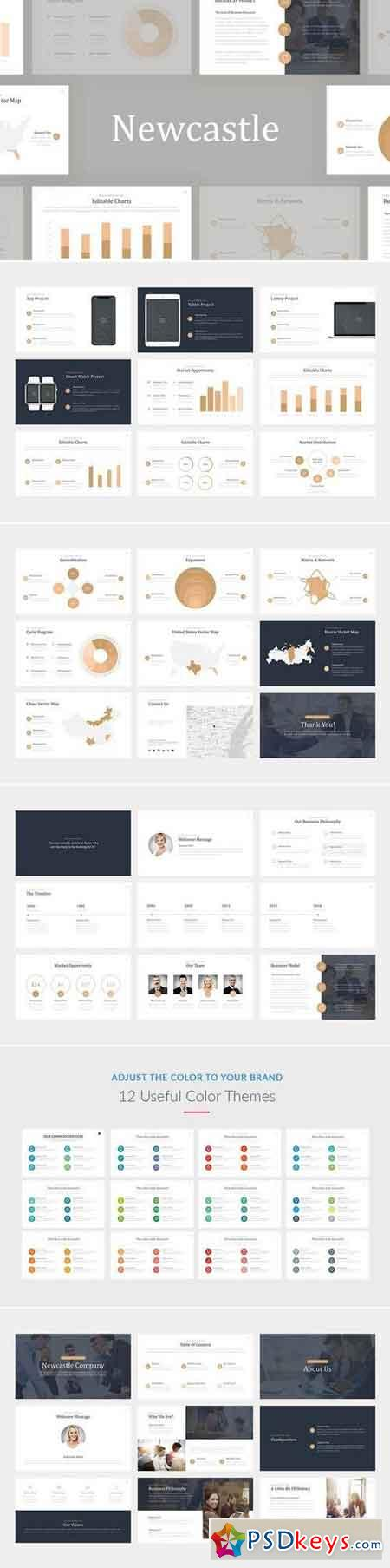 Newcastle Professional Powerpoint, Keynote, Google Sliders Templates