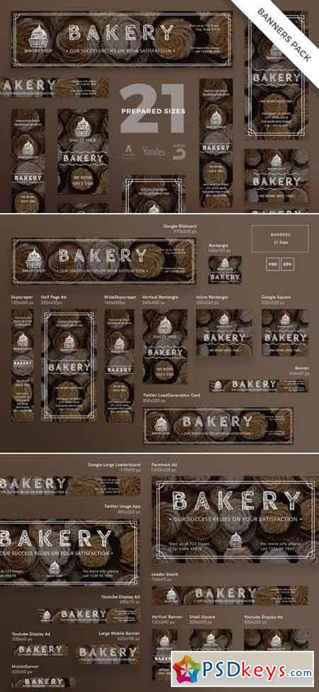 Bakery Shop Banner Pack and Social Media Pack Template