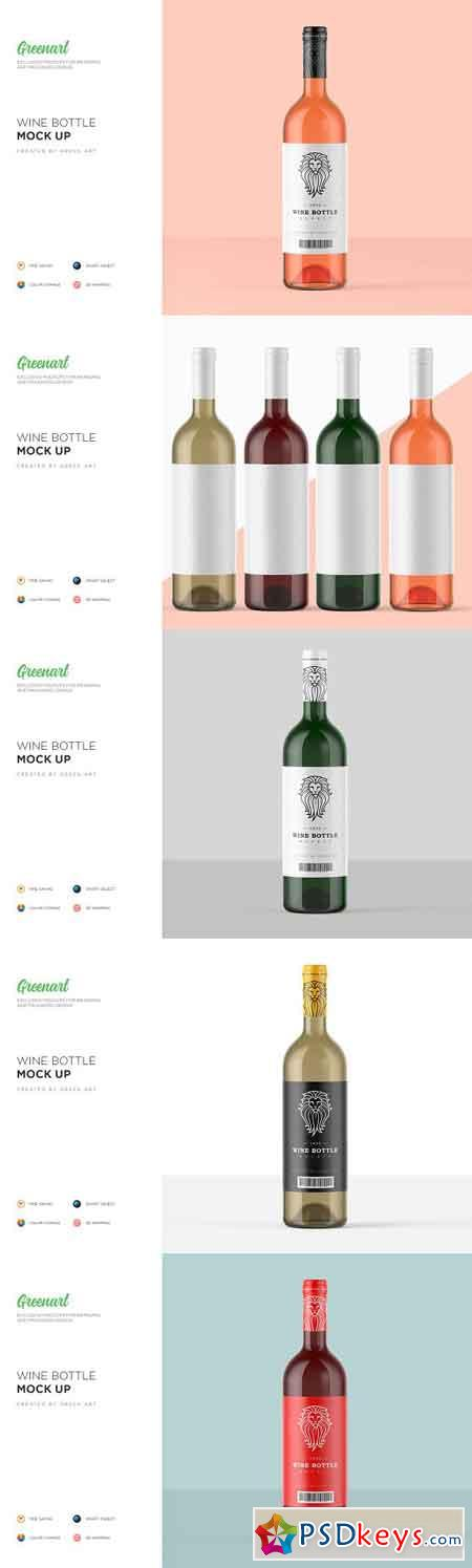Clear Glass Wine Bottle Mockup 2795267
