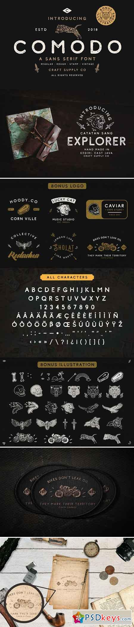 Comodo Font Family + Illustrations 2905620