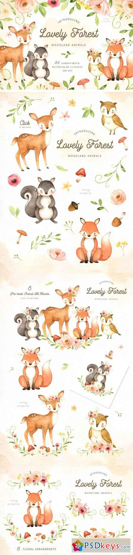 Lovely Forest Watercolor Clip Art 2893425
