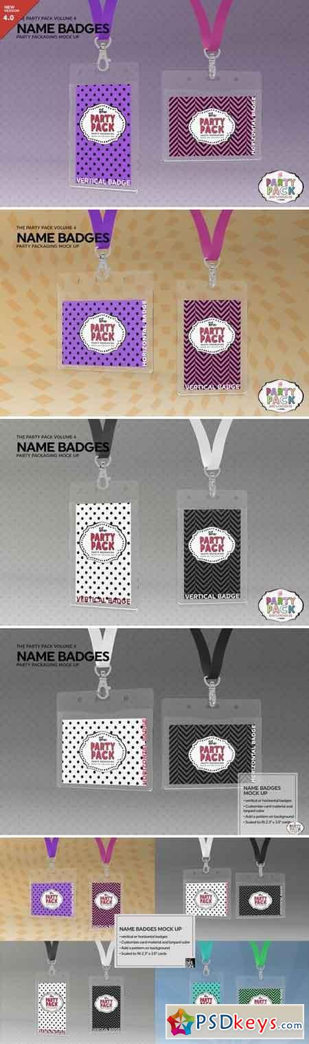 Name Badges with Lanyards Mock Up 2199329