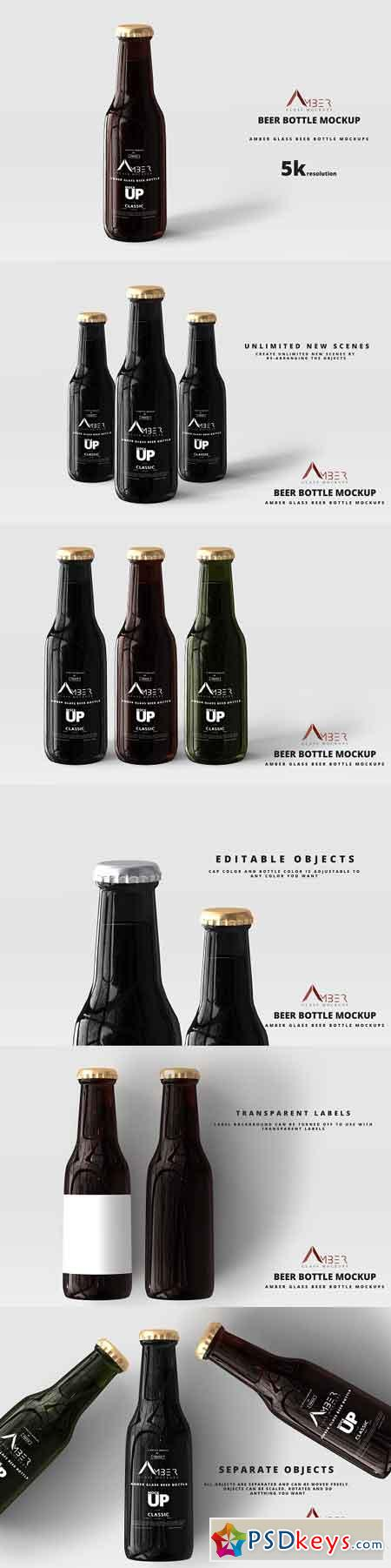 Amber Glass Beer Bottle Mockup 04 2941876