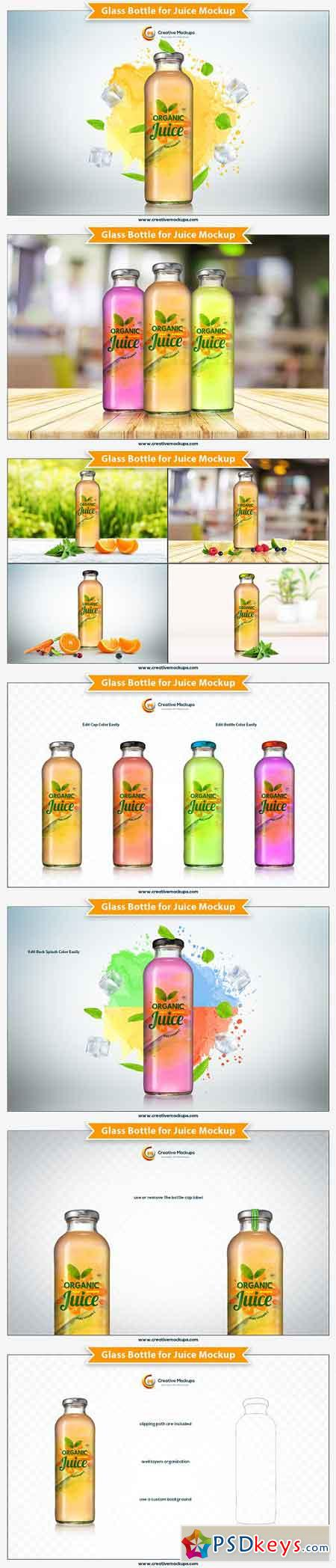 Glass Bottle for Juice Mockup 2941755