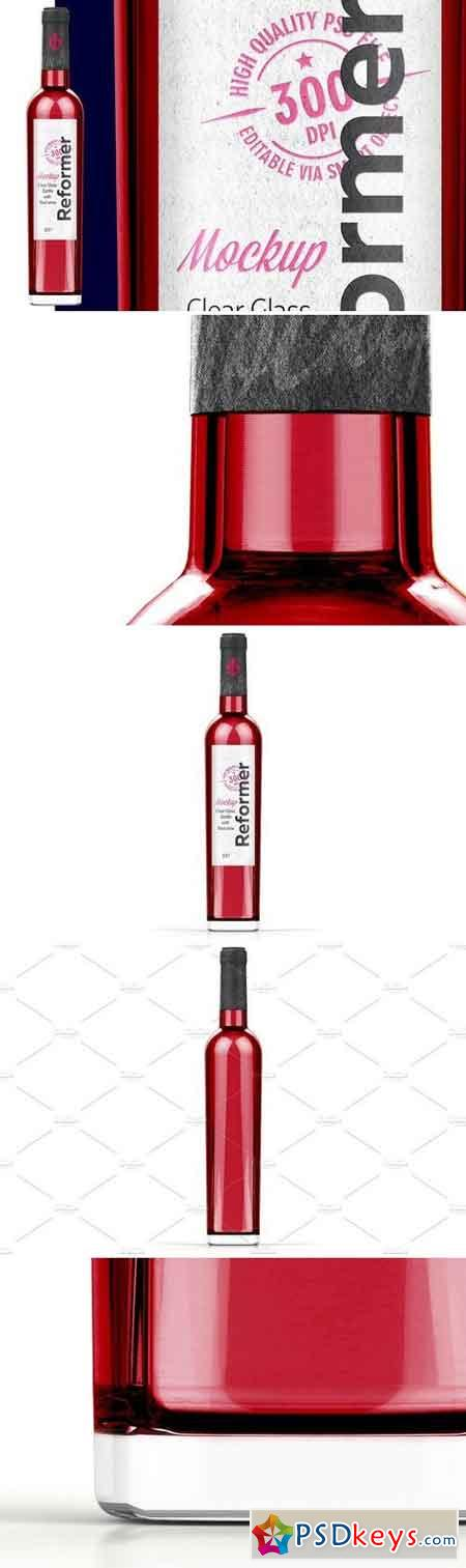 Glass Bottle with Red wine Mock Up 2126266