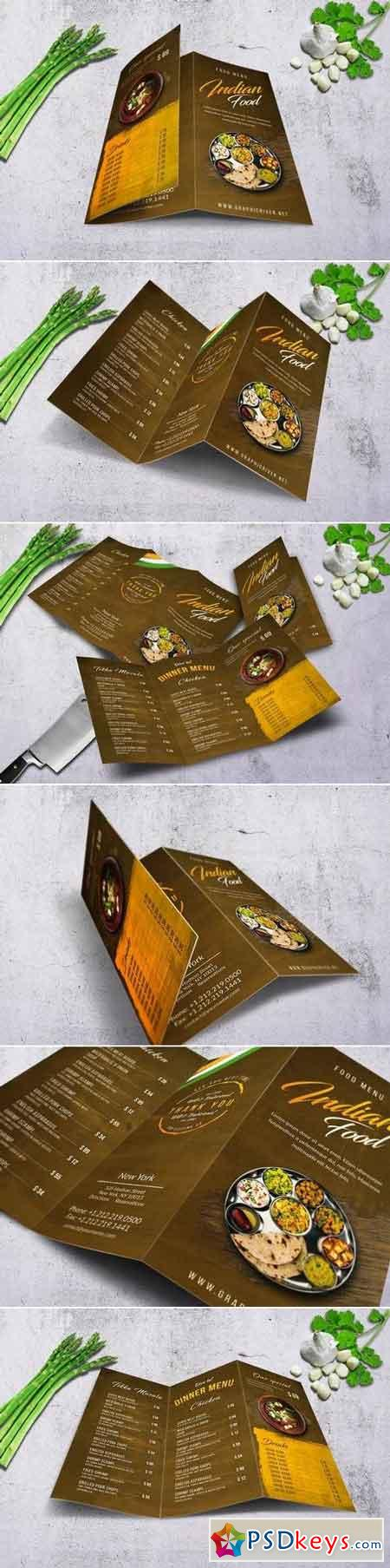 Indian Trifold Food Menu A4 & US Letter