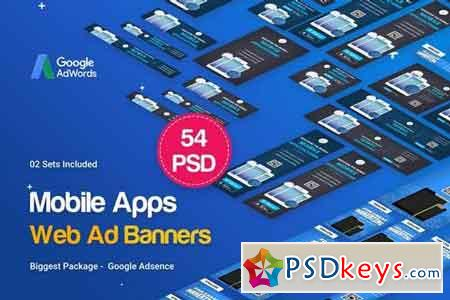 Mobile Applications Banners Ad - 54 PSD [02 Sets]
