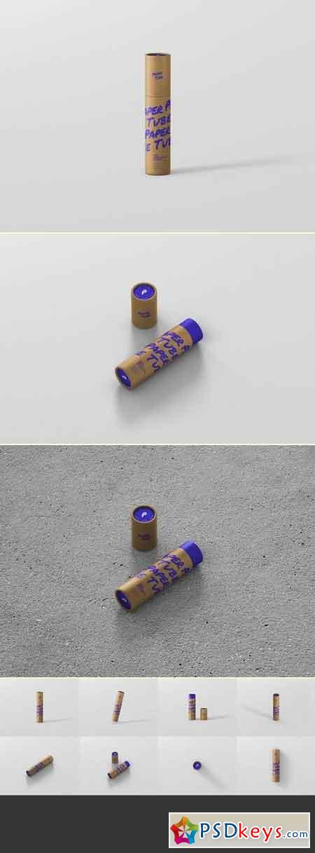 Paper Tube Mockup - Slim Medium Size