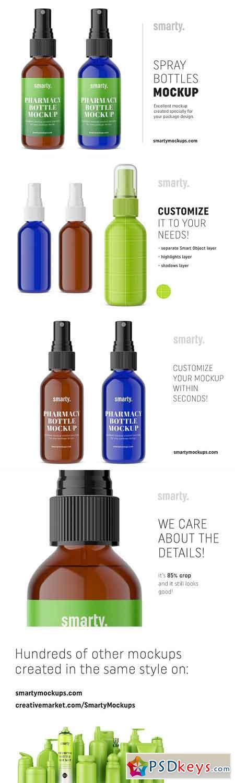 Blue amber spray bottle mockup 2934325