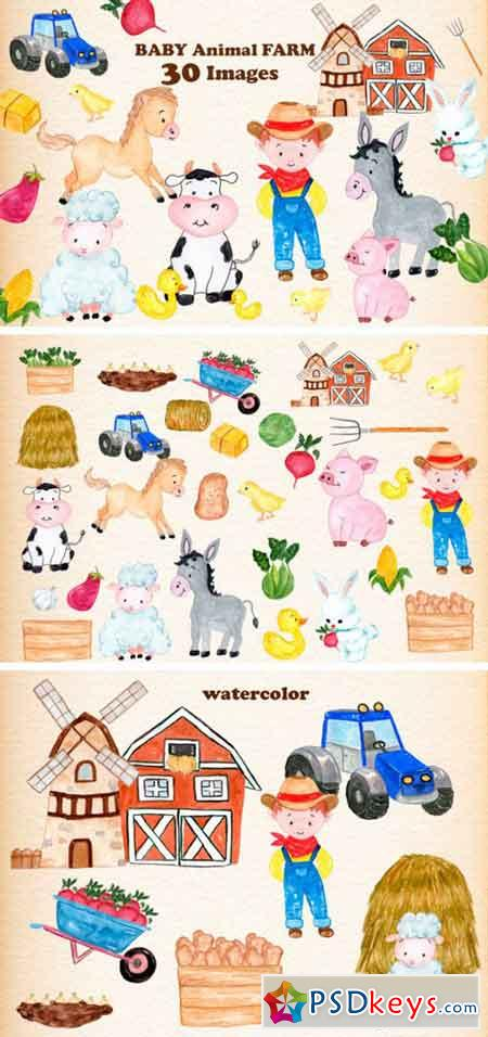 Set with 30 Baby Farm Animals