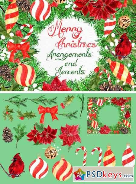 22 Watercolor Christmas Clipart Items