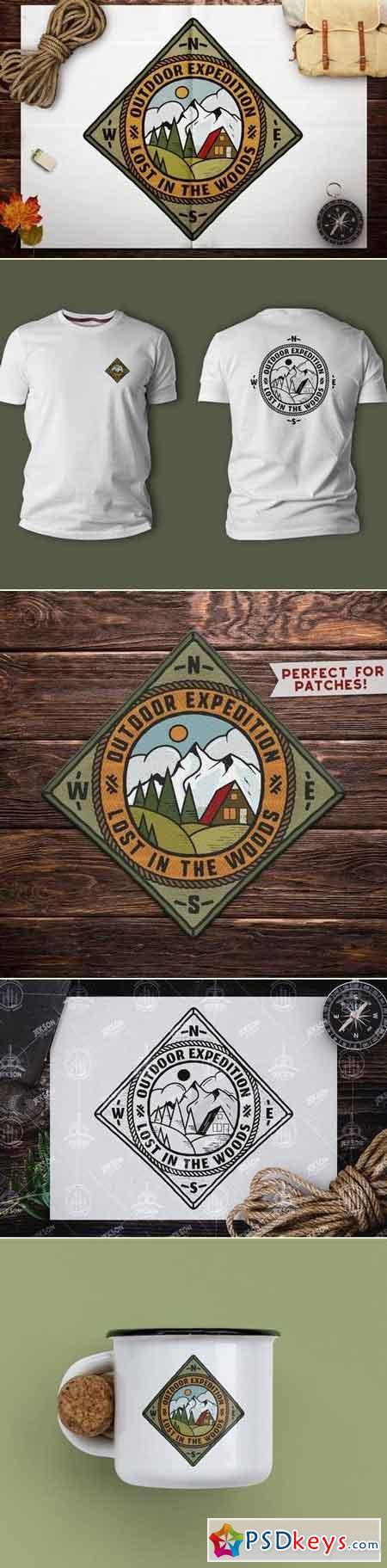 Retro Travel Emblem Vintage Camping Logo Patch