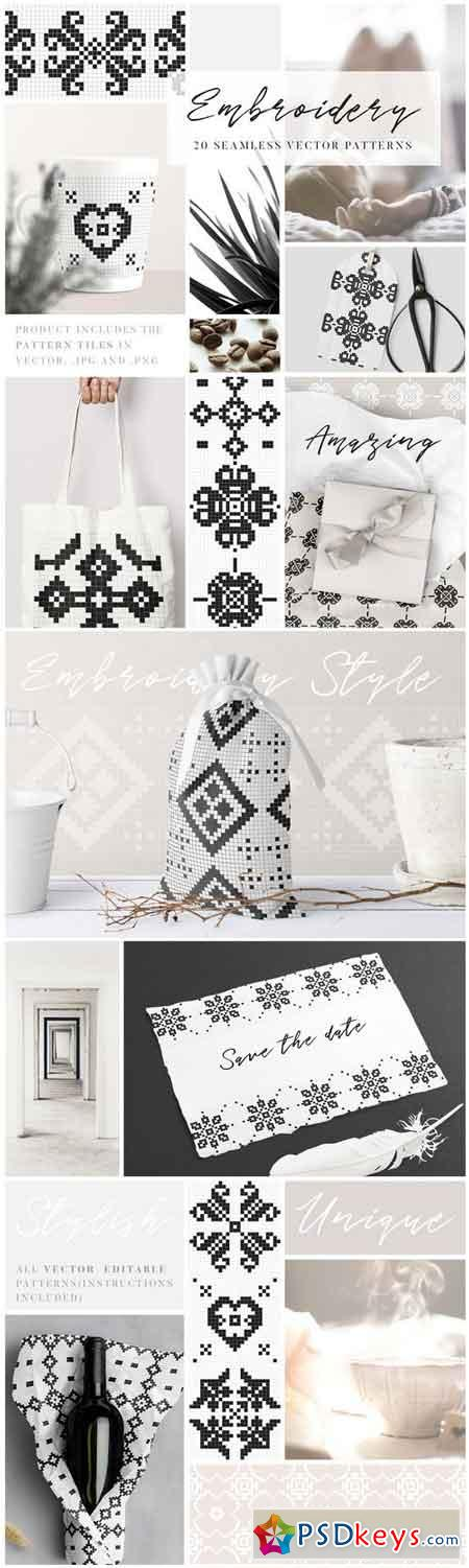 Embroidery Style Vector Patterns 2202205