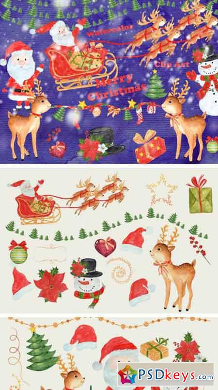 31 Hand Painted Watercolor Christmas Designs