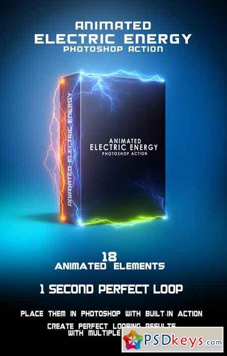 Animated Electric Energy Photoshop Action 19993233