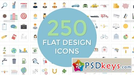 Videohive Flat Design Icons 20552114 After Effects Template