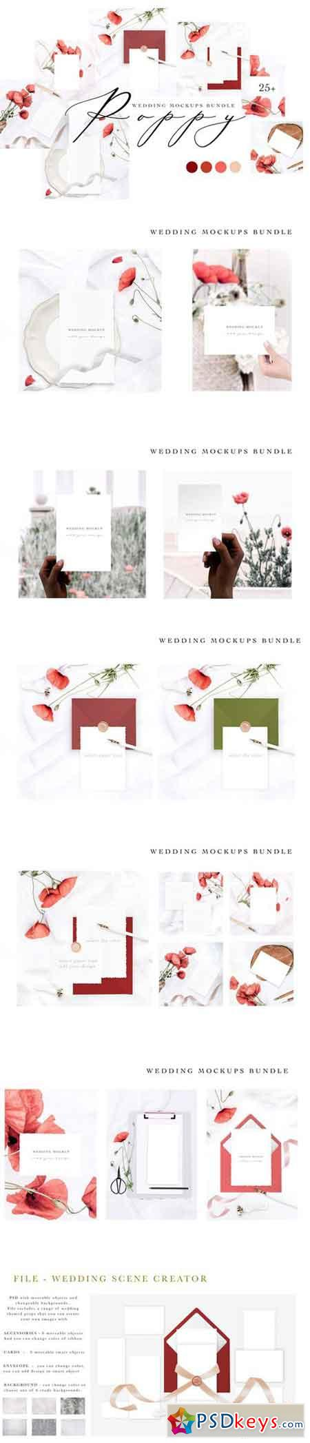 POPPY WEDDING MOCKUPS BUNDLE 2670193