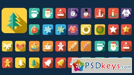 Flat Style Animated Christmas New Year Icons 13483247 After Effects Template