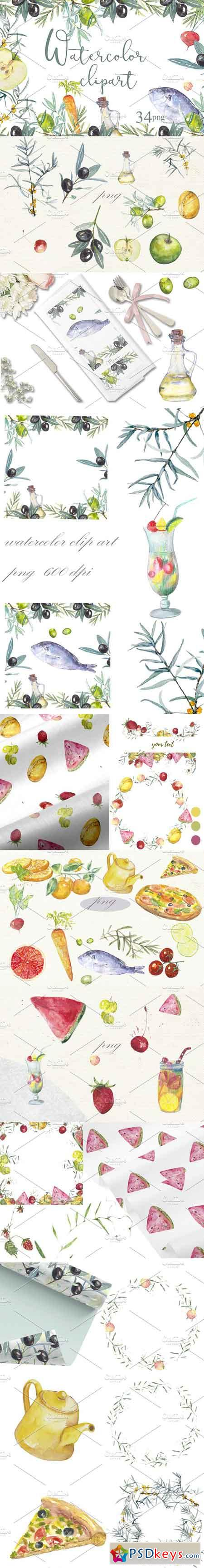 Fruit vegetables food watercolor 2856249