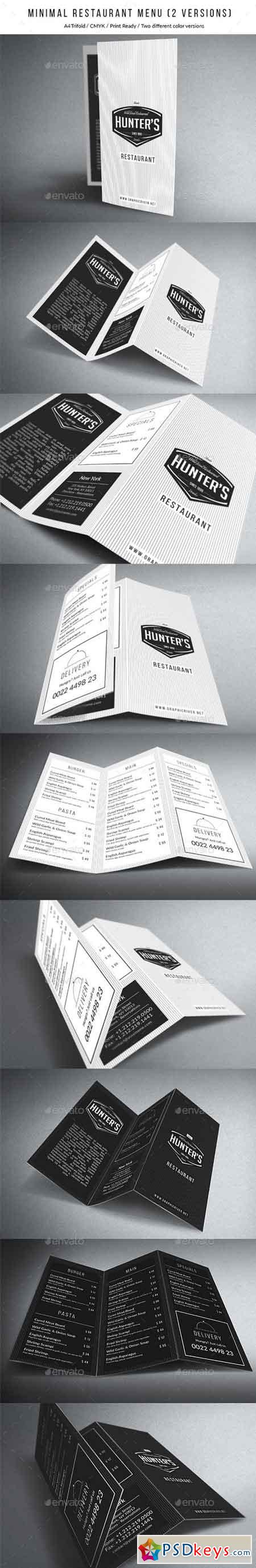 Minimal A4 Trifold Menu - 2 Versions 15646447