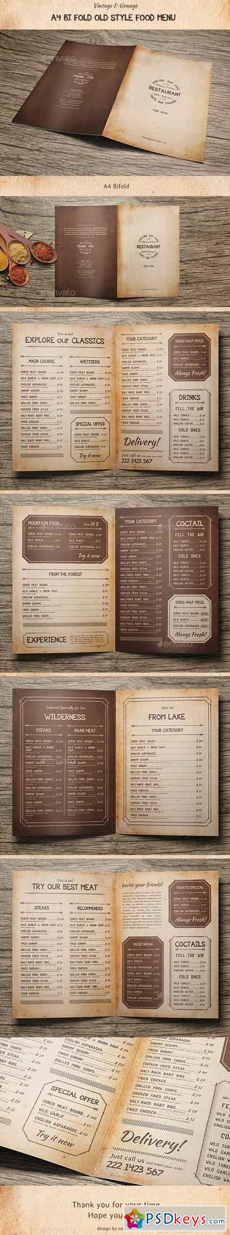 Old Style A4 Bifold Food Menu 15956806