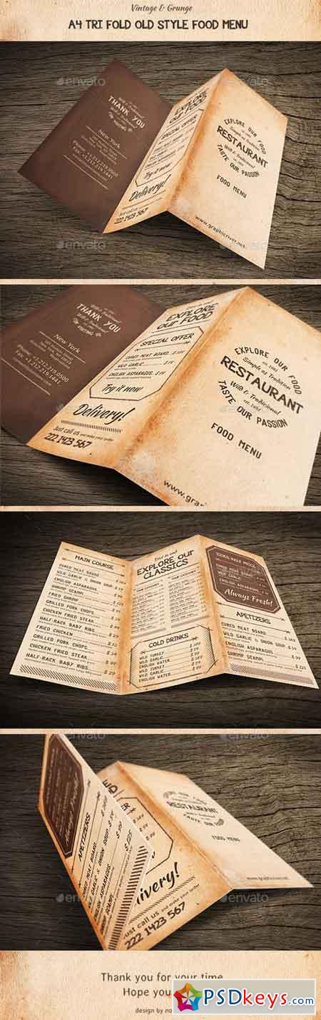 Old Style A4 Trifold Food Menu 15956927