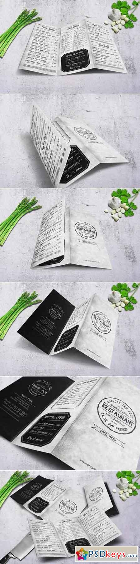 Vintage A4 Trifold Food Menu