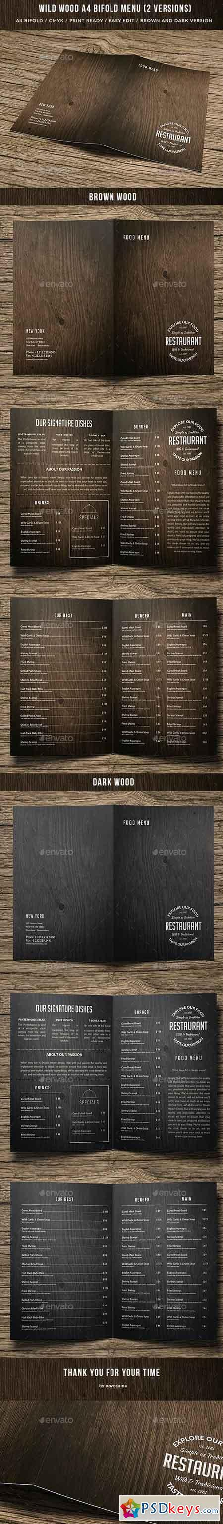 Wild Wood A4 Bifold Menu - 2 Color Versions 15645295