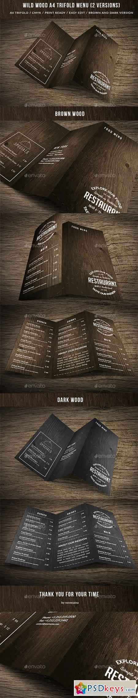 Wild Wood A4 TriFold Menu - 2 Versions 15647677