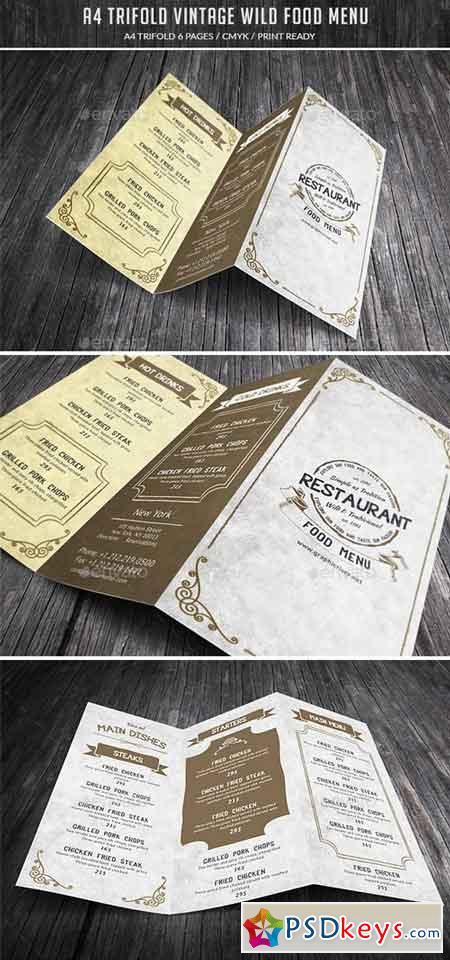 A4 Trifold Wild Food Menu 15720935
