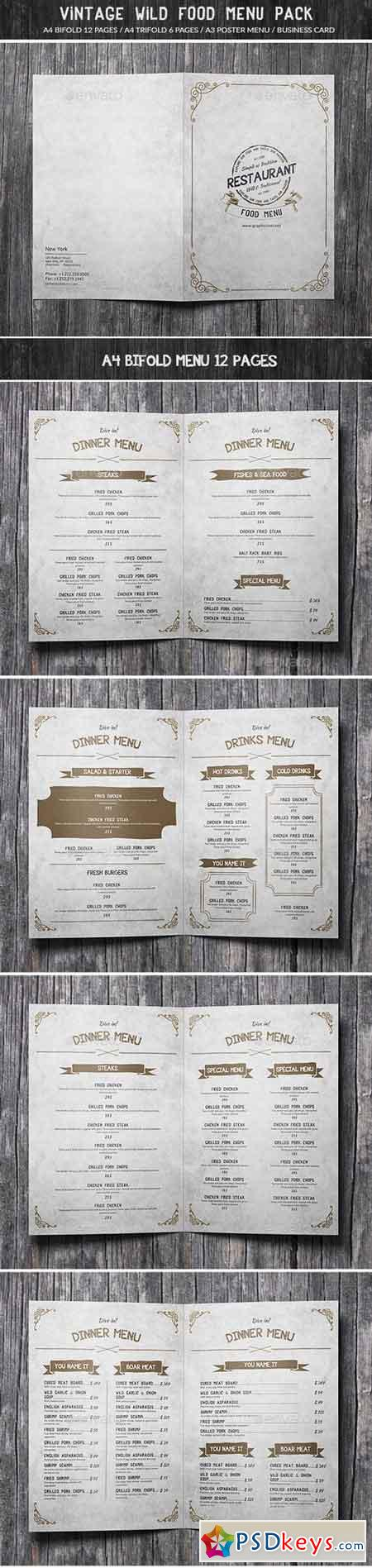 Vintage Wild Food Menu Pack 15661661