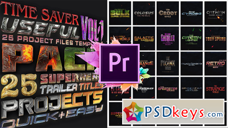 25 SuperHero Titles Pack Mogrt 22534434 Premier Pro Templates » Free