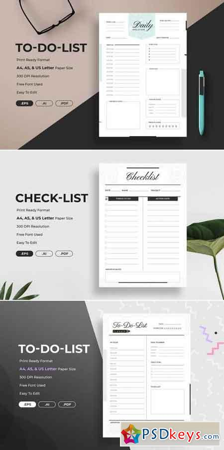 Minimal Check-List Planner Bundle