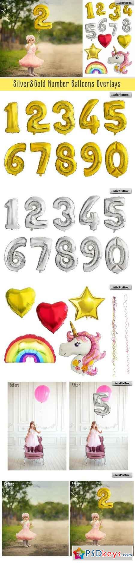 Shaped Number Balloons Overlays 2570490