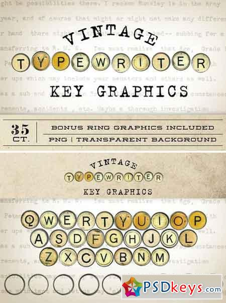 Vintage Typewriter Key Graphics 12047