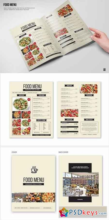 Clean & Fresh A4 & US Letter Food Menu