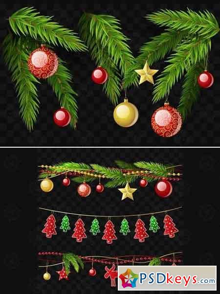 Christmas fir branches - set of realistic elements