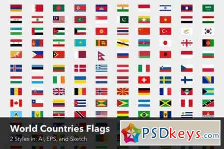 World Countries Flags - Two styles