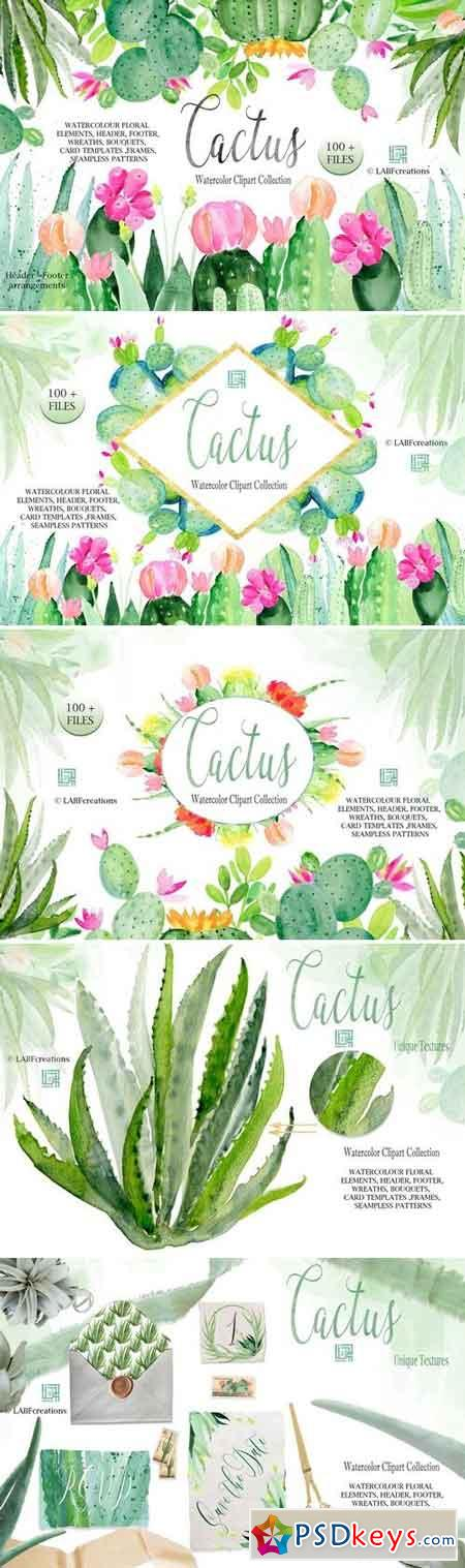 Cactus watercolr clipart collection 2639697