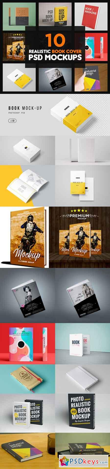 10 Realistic Book Cover PSD Mockups