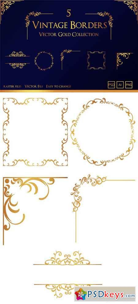 5 Vintage Borders - Vector Gold Collection
