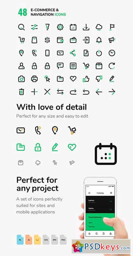 48 E-commerce & Navigation Vector Icons Set